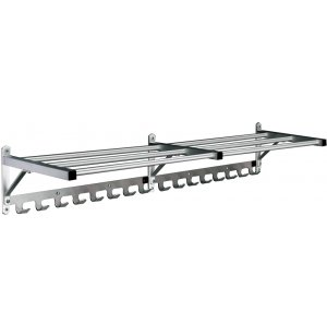 Value-line Wall Rack w/Shelf & Hooks - 8'