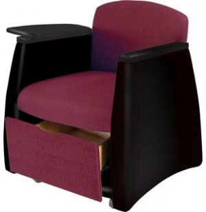 Two-Tone Arm Chair w/Black Finish & Storage Drawer