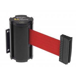 Wall Mounted Retractable Belt Stanchion - 7' Strap, Black