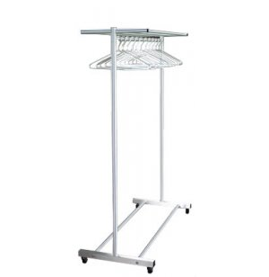Portable Aluminum Coat Rack with Hat Shelf