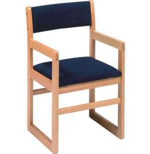 Sled-Base Library Arm Chair Upholstered