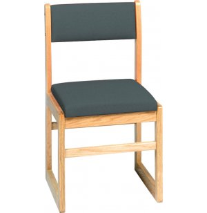 Sled-Base Library Chair Upholstered