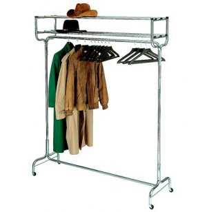 Portable Coat Rack with Double Hat Shelf and Hangers