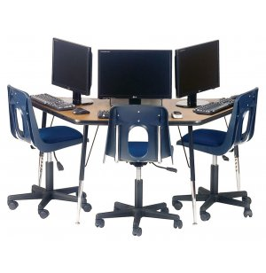 Academia Adjustable Trapezoid Computer Table