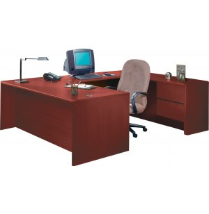 HON U-Shaped Office Desk with Right Pedestal Credenza