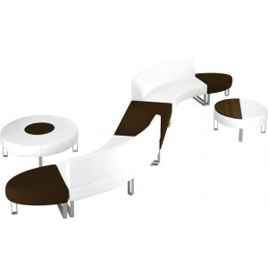 Hip Hop Modular Curved Lounge Seating with Coffee Tables