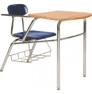 Front-Braced WoodStone Chair-Desk w/ Hard Plastic Seat