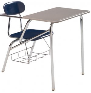 Combo Student Chair Desk - Hard Plastic, Support Brace, 16