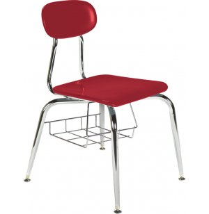 Hard Plastic Stackable School Chair - Book Basket