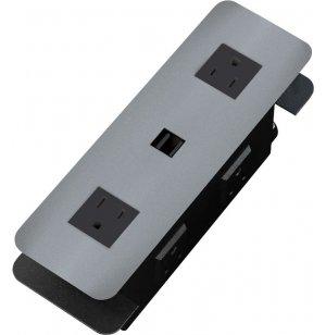 Cove USB Power Strip Station - Brushed Aluminum