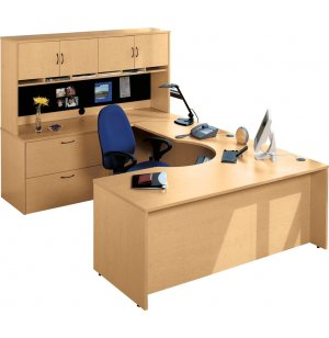 Hyperwork Curved-Corner U-Shaped Office Desk