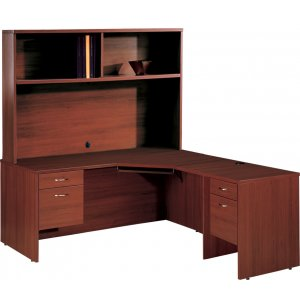 Computer L-Shaped Office Desk with Left Hutch