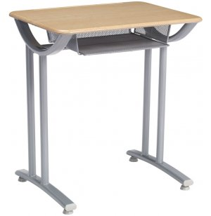 Illustration Open Front Desk with Hard Plastic Top Fixed-Ht