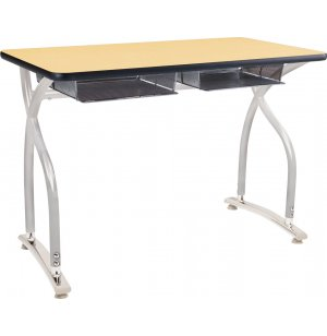 Illustrations V2 Double Open Front School Desk - Adj. Height