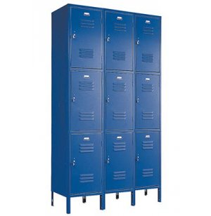 3-Wide Triple Tier Locker w/Friction Catch Door Pulls