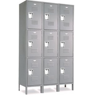 3-Wide Triple Tier Locker Recessed Handle