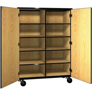 Mobile Cubby Storage - 8 Adj Shelves, Locking Doors, 66