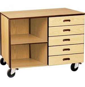 Mobile Office Storage Unit - 5 Drawers, 1 Adj Shelf, 36
