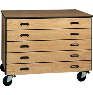 Mobile Office Storage Unit with 5 Deep Drawers, 36