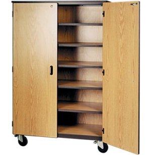 Mobile Storage Cabinet 5 Shelves Locking Doors 72 H
