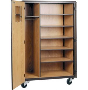 Locking Mobile Wardrobe Storage Closet- 5 Adj Shelves, 72