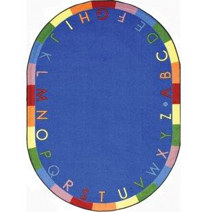 Rainbow Alphabet Oval Classroom Rug
