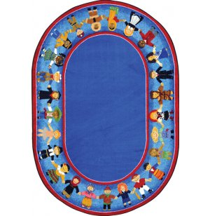 Children of Many Cultures Oval Rug