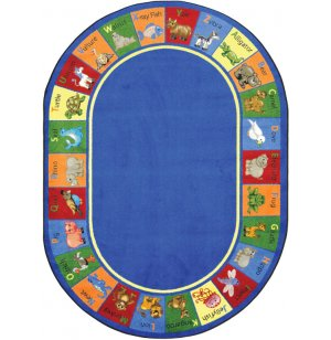 Animal Phonics Oval Classroom Rug