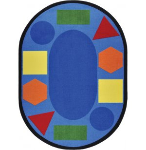 Sitting Shapes Oval Classroom Rug