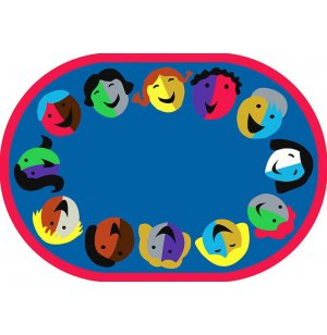 Joyful Faces Oval Carpet
