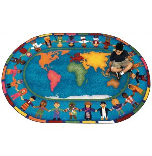 Hands Around the World Oval Carpet