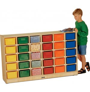 Mobile Cubby Storage w/ 30 Cubby Bins