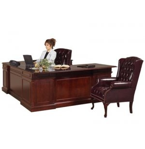 Executive U-Shape Office Desk w/Right Credenza