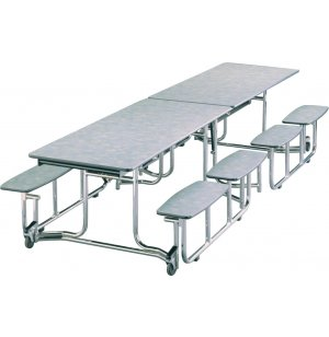 Uniframe Split Bench Cafeteria Table - Chrome, 139