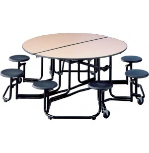 Uniframe Round Cafeteria Table - 8 Stools, Painted Frame