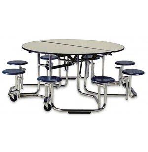 Uniframe Mobile Cafeteria Table - 8 Stools, Chrome Frame