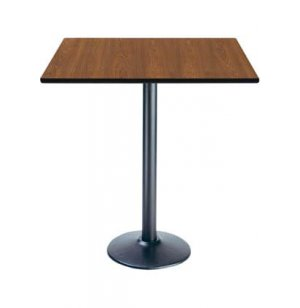 Deluxe Rectangular Bar-Height Cafe Table - Round Base
