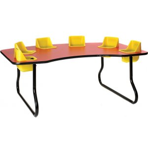 Six Seater Kidney-Shaped Toddler Table