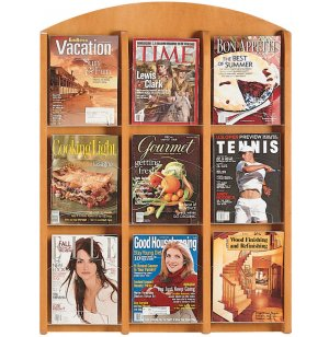 Clear Face Literature Rack with 9 Pockets