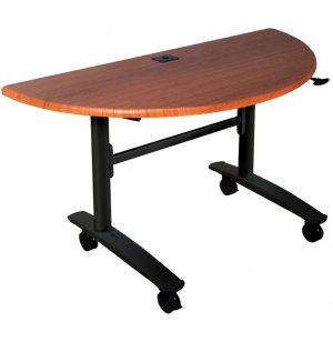 Half-Round Lumina Flipper Table - Black Cherry Top