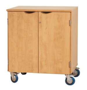 Mobile Storage Cabinet with Doors and 1 Shelf