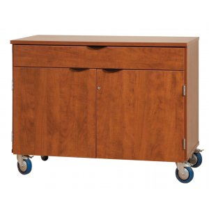 Mobile Storage Cabinet with Doors and 1 Full Drawer