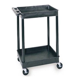 Heavy Duty 2 Shelf AV Cart Black