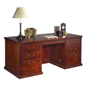Americana Double Pedestal Office Desk in Cherry