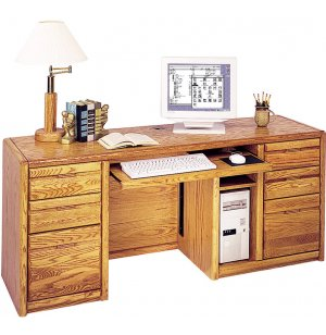 Contemporary Computer Credenza w/ Keyboard Tray, CPU Holder