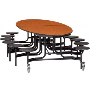 Folding Oval Cafeteria Table - Chrome, 12 Stools