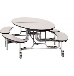 NPS Oval Bench Cafeteria Table - Plywood, Chrome