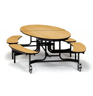 Folding Oval Bench Cafeteria Table - Plywood