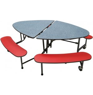 Mobile Oval Bench Cafeteria Table - Black Legs