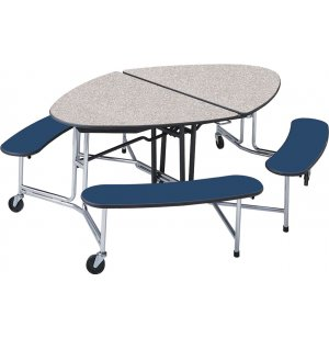 Mobile Oval Bench Cafeteria Table - Chrome Legs
